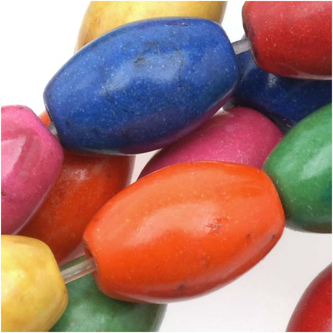 Dyed Stone Mixed Color Oval Tube Beads - 11.5x8mm (16 Inch Strand)