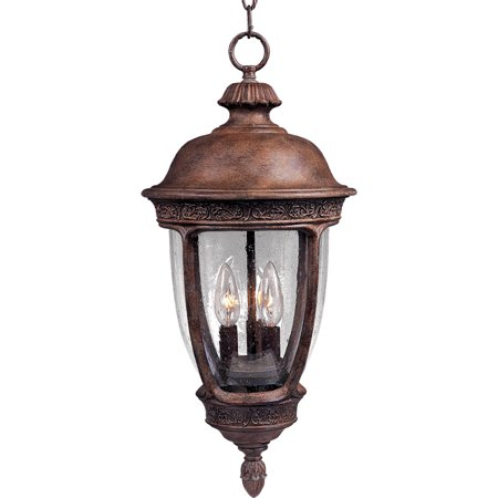 Outdoor Pendant 3 Light Bulb Fixture With Sienna Finish Die Cast Aluminum Material Candelabra Bulbs 13 inch 120 Watts