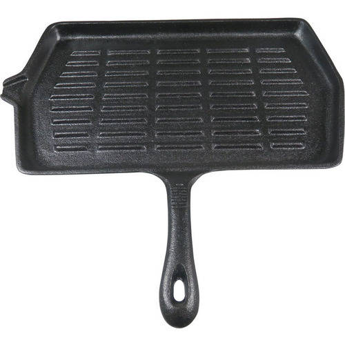 "Ozark Trail 14"" x 8"" Rectangular Cast Iron Griddle with Handle, Pre-Seasoned"