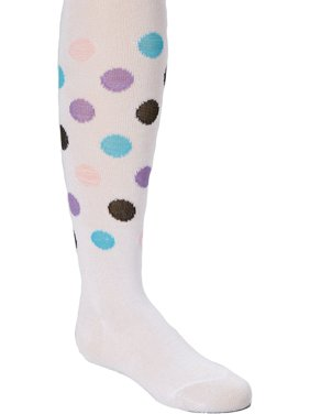 Wenchoice Girl's White Polka Dot Tights - L(8Y-10Y)