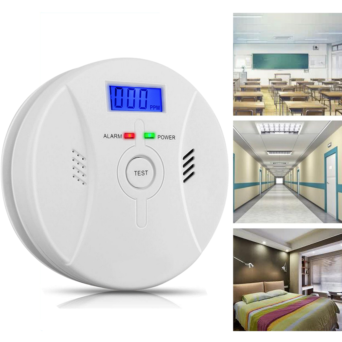 Smoke and Carbon Monoxide Alarm ,Sound & Flash Alarm Home Portable Security Warning Gas Smart prompt SMT manufacture technology Battery-Operated