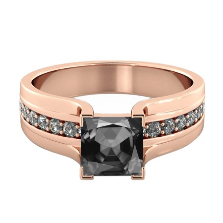- 3.20 CTW Black Diamond Ring 14K Rose Gold Bridge Vintage Princess