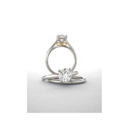 G/SI 1ct Round Diamond Solitaire 14k Rose & White Gold Engagement Ring - image 2 de 4