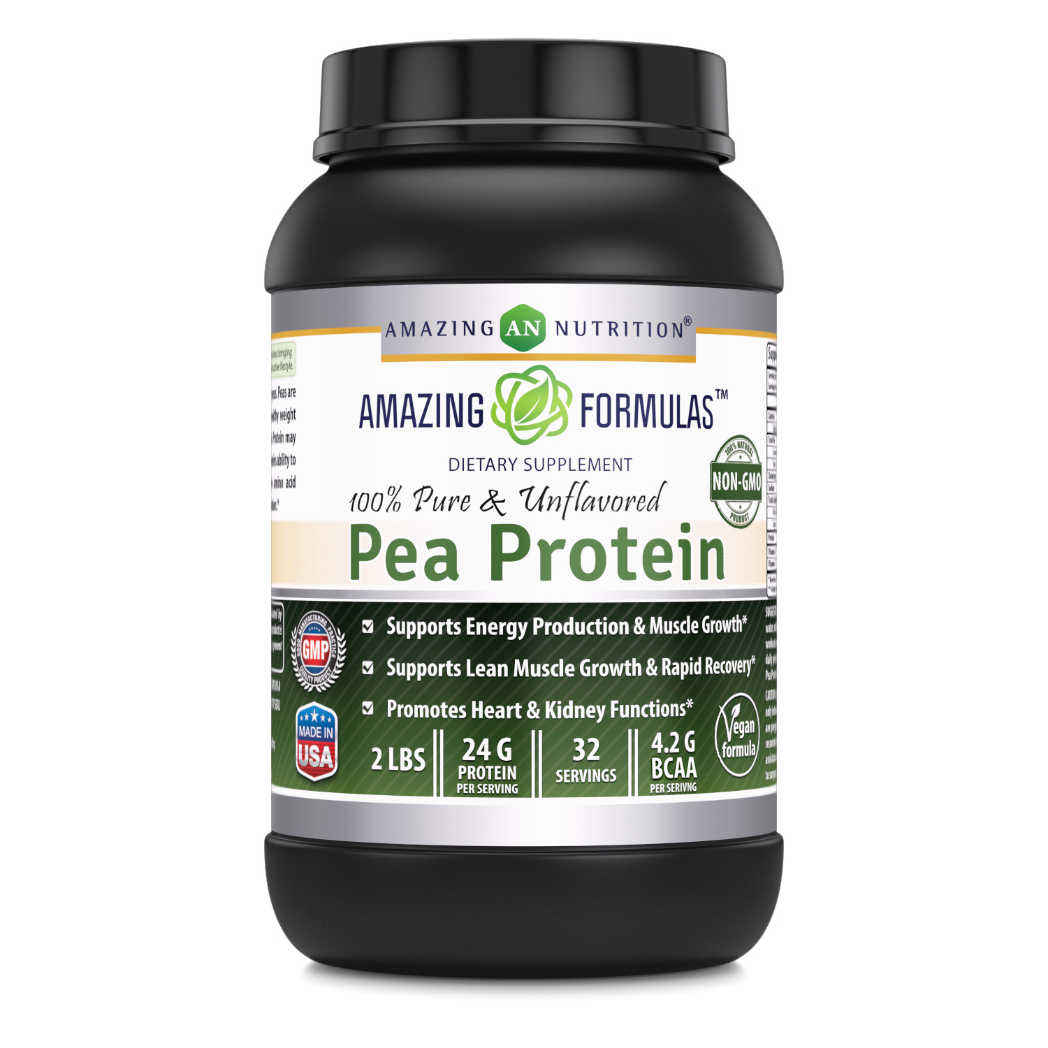 Amazing Nutrition Amazing Formulas 100% Pure & Unflavored Pea Protein Dietary Supplement - 2 lbs - Supports Energy Production and Muscle Growth - Promotes Heart and Kidney Function
