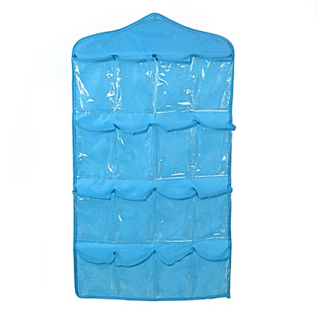 Wall Door Closet 16 Pockets Hanging Storage Bag Organizer Pouch Blue
