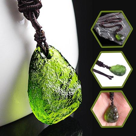 Natural Green Moldavite Aerolites Crystal Stone Pendant Energy Chakra Necklace Christmas Gift Energy Saving Outdoor Pendant