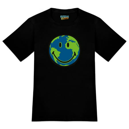 Smiley Smile World Earth Conservation Recycle Happy Face Men's Novelty T-Shirt