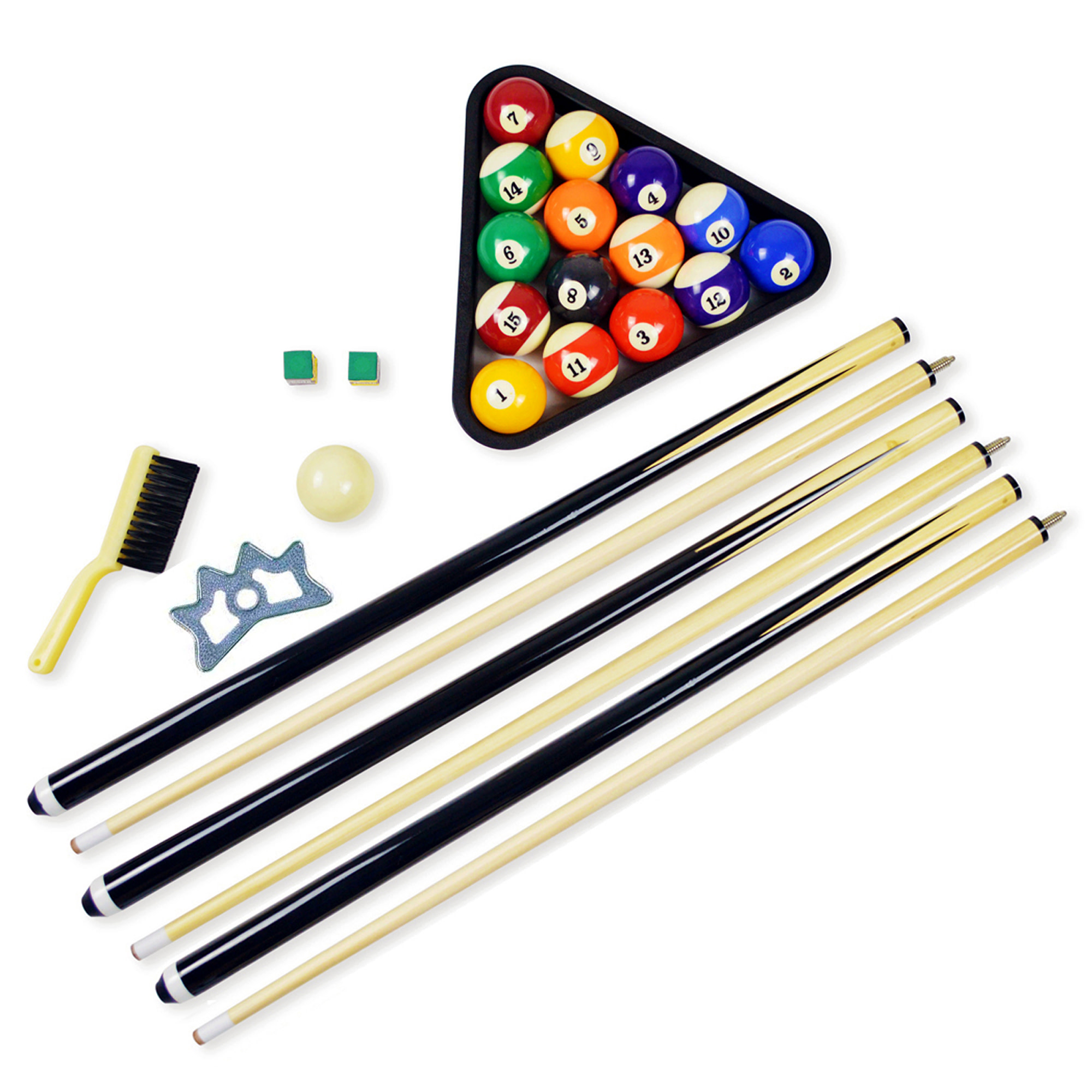 Hathaway Pool Table Billiard Accessory Kit with Cues, Rack, Chalk, Brush