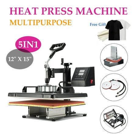 """5 in 1 12"""" X 15"""" Heat Press 360 Degree Swivel Heat Press Machine w/ Silicone (Ez Press)"""