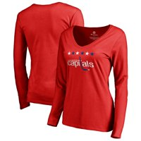 Washington Capitals Fanatics Branded Women's Team Alternate Long Sleeve V-Neck T-Shirt - Red