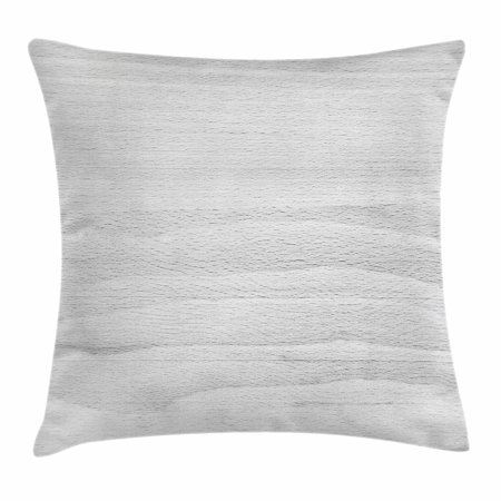 Grey Throw Pillow Cushion Cover, Close up Image of Hardwood Board Texture Oak Timber Surface Carpentry Themed Print, Decorative Square Accent Pillow Case, 16 X 16 Inches, Pale Grey, by Ambesonne