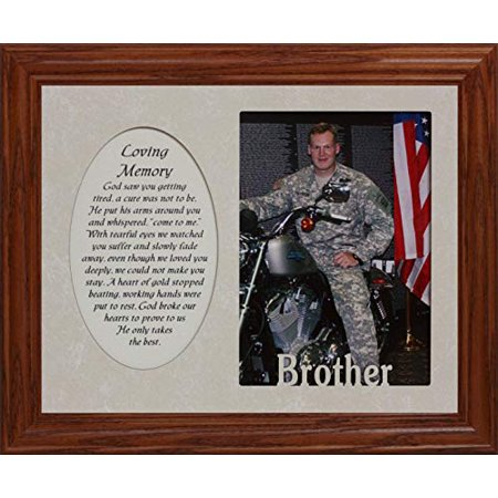 Loving Memory & Brother Photo & Poetry Frame ~ Holds A Portrait 5X7 Picture ~ Memorial/Tribute (Fruitwood - Minnesota Portrait Picture Frame