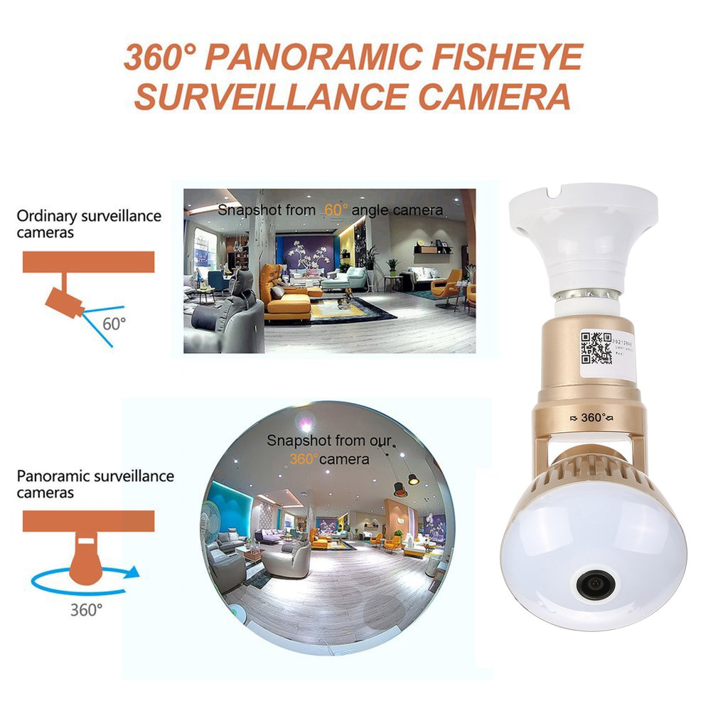 Bulb IP Camera - 360 Panoramic WiFi Fisheye Spy Hidden Cameras with 2 Way Audio Night Vision Motion Detection Pet Baby Monitor for Home Security Outdoor Surveillance Cam for Android iPhone