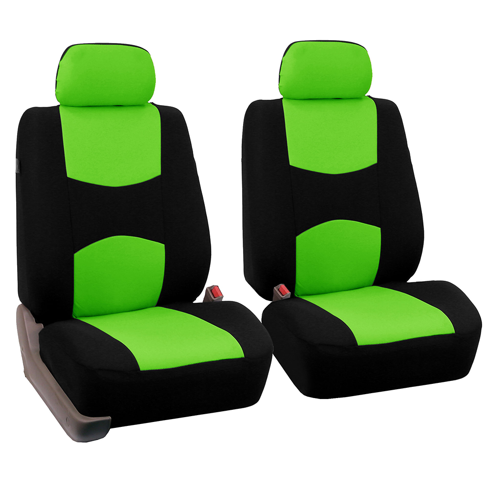 FH Group Universal Flat Cloth Bucket Seat Cover, 2 Pack, Green and Black