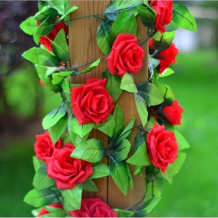 Artificial Fake Rose Silk Flower Green Leaf Vine Garland Ivy Vine Hanging Garland Home Wall Party Decor Wedding Garden Decoration Bouquet House Decor 240cm Light Pink Color:Red