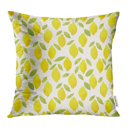 USART Colorful Summer Watercolor Pattern on Cute Lemon Hand Berries Botanical Citrus Pillow Case Pillow Cover 16x16 inch Throw Pillow Covers