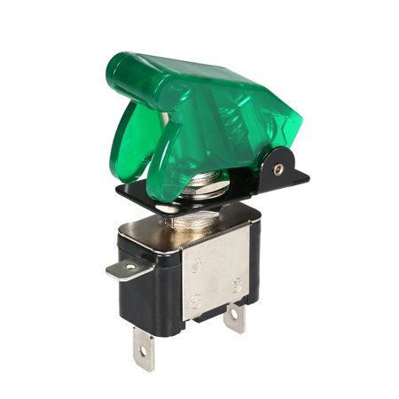 Car Toggle Switch 12V 20A LED Light Toggle Engine Ignition Switch On Off Button Green Cover (Car Switch On Off)