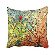 RYLABLUE Decorative Pillow Cover Decor Throw Pillow Case Cushion Cover Colorful Birds and Tree Size 20x20 inches Two Side