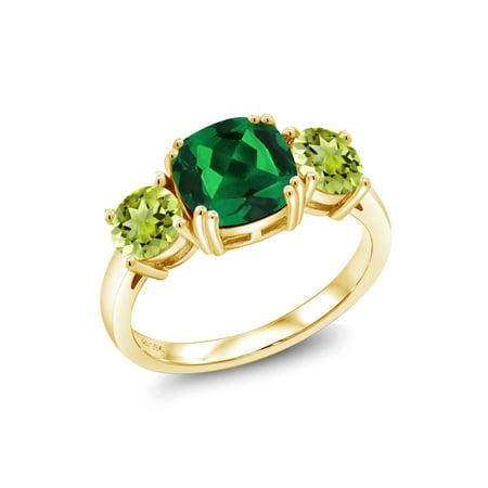 - 3.60 Ct Green Simulated Emerald Green Peridot 18K Yellow Gold Plated Silver Ring