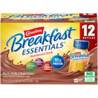 Carnation Breakfast Essentials Ready to Drink Nutritional Breakfast Drink, Rich Milk Chocolate, 12 - 8 FL OZ Bottles