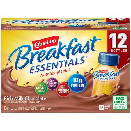 Carnation Breakfast Essentials Rich Milk Chocolate 8 fl. oz. Bottles 12 Count Instant Breakfast Shake Apple