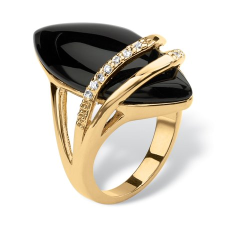 Genuine 9 Stone Marquise (.16 TCW Genuine Onyx and Cubic Zirconia Ring Marquise Ring 18k Gold-Plated )