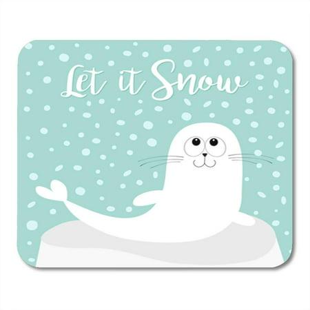 LADDKE Let It Snow White Sea Lion Harp Seal Pup Mousepad Mouse Pad Mouse Mat 9x10 inch (Pup Pad)