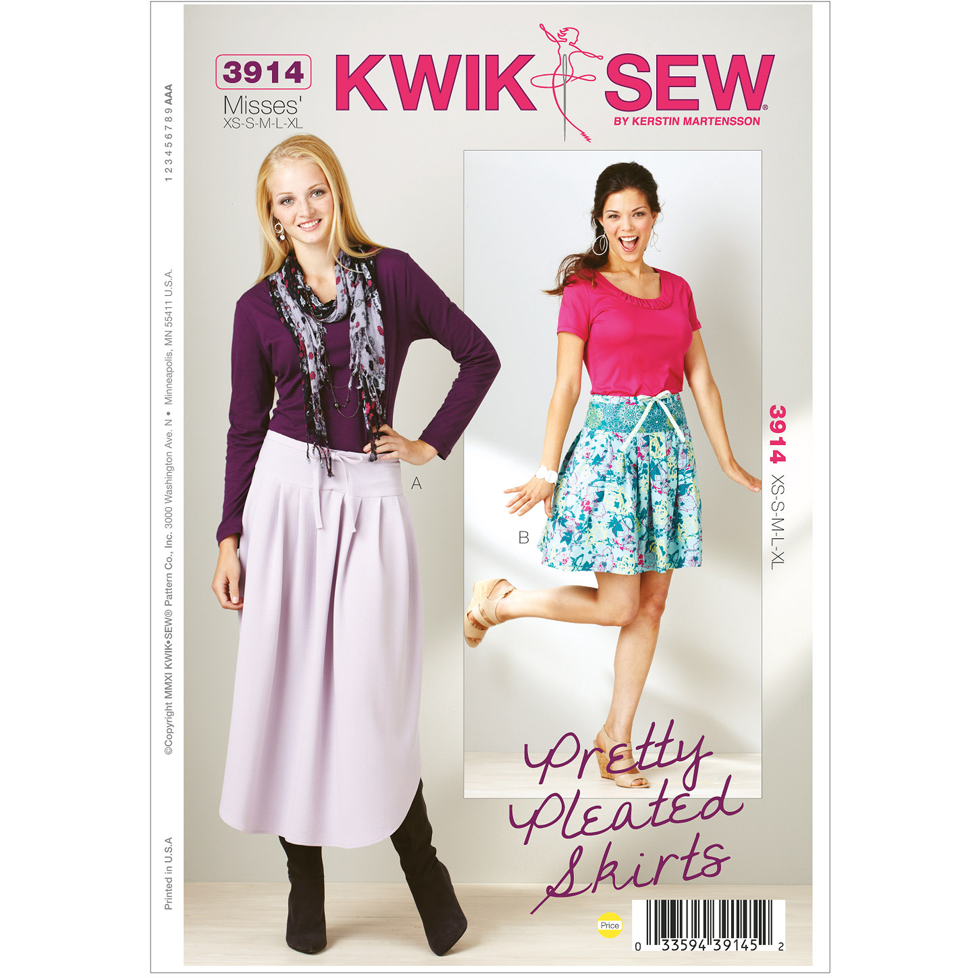 Kwik Sew Pattern Pretty Pleated Skirt, (XS, S, M, L, XL)