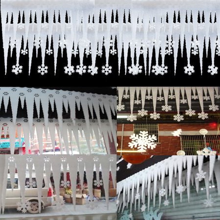 2pcs White Foam Snowflake Ice Strip Christmas Window Decoration Ornament Party](Foam Snowflakes)