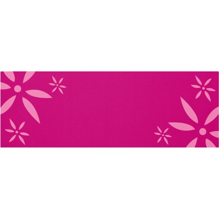 Renew 4mm Pink Yoga Mat with Silk-Screened Daisy Print with Microban ()