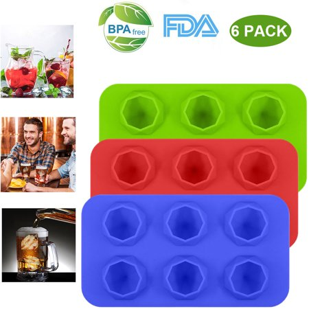 Food Grade Large Ice Cube Trays, Silicone Baking Molds, 6-Pack, Blue/Green/Red