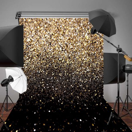 5x7FT/7x5FT Wedding Photography Vinyl Fabric Backdrop Background Glitter Black Gold Dots/ Gold Glitter Photo Studio Props Christmas ()