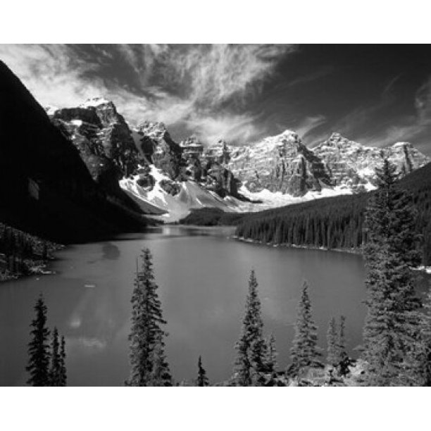 Logs in Moraine Lake and nearby Wenkchemna Peaks. Banff