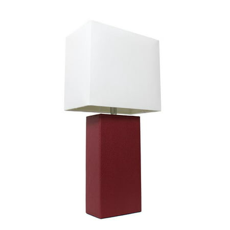 Elegant Designs Modern Leather Table Lamp with White Shade, Red