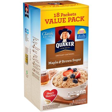 Quaker Classic Recipe Instant Oatmeal Maple   Brown Sugar Value Pack   18 Pk  1 51 Oz