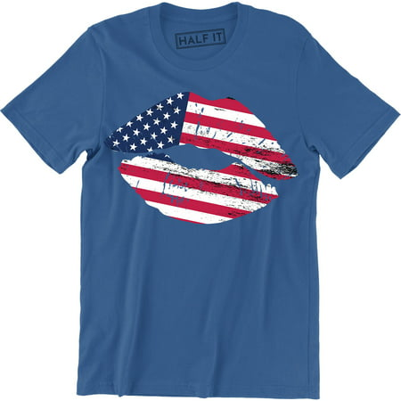 Patriotic Lips Men's Sexy Kiss Stars and Stripes 4th of July T-Shirt
