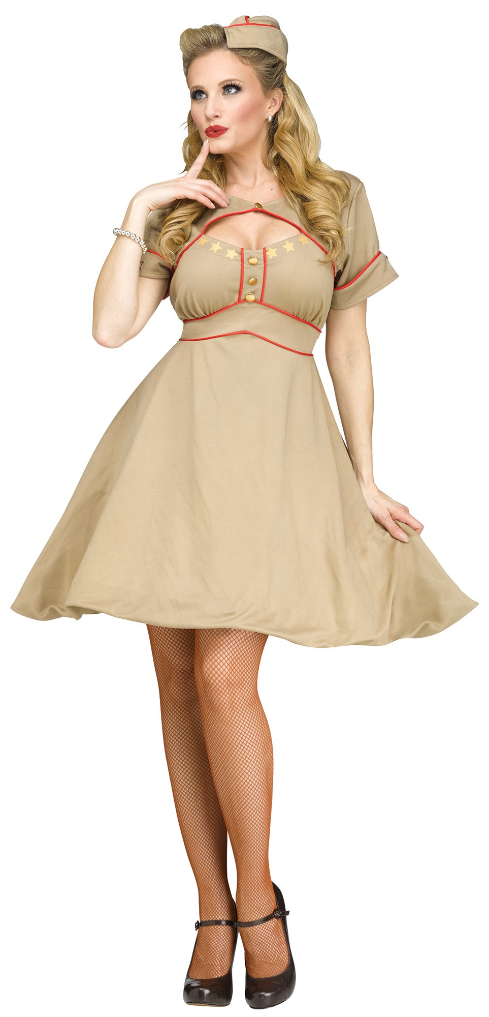 Army Gal Retro Pinup WWII WW2 1940u0027s Nurse Adult Costume Small/Medium ...  sc 1 st  Walmart & Army Gal Retro Pinup WWII WW2 1940u0027s Nurse Adult Costume Small ...