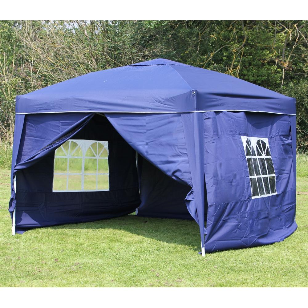 10 X 10 Palm Springs Ez Pop Up Blue Canopy Gazebo Tent