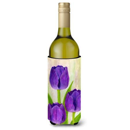 Purple Tulips by Maureen Bonfield Wine Bottle Beverage Insulator Hugger BMBO1033LITERK