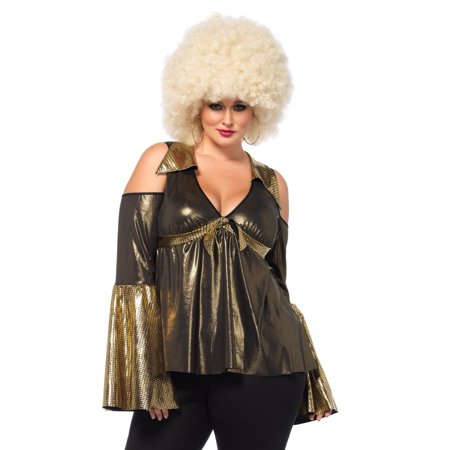 Leg Avenue Women's Plus Size Disco Diva Costume, Black/Gold, 1X-2X