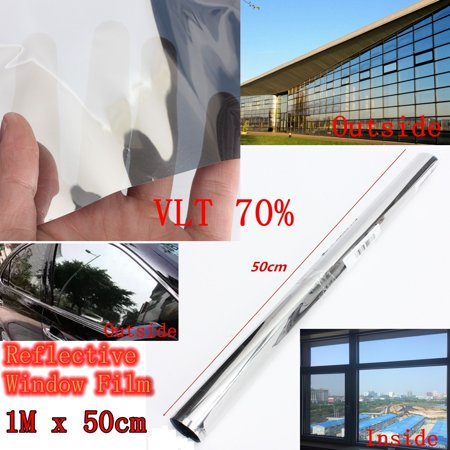 70% VLT Window Privacy Film, One Way Mirror Window Film, Anti UV Window Sunscreen Film, Self-Adhesive Heat Control Window Film for Office Home Daytime Privacy