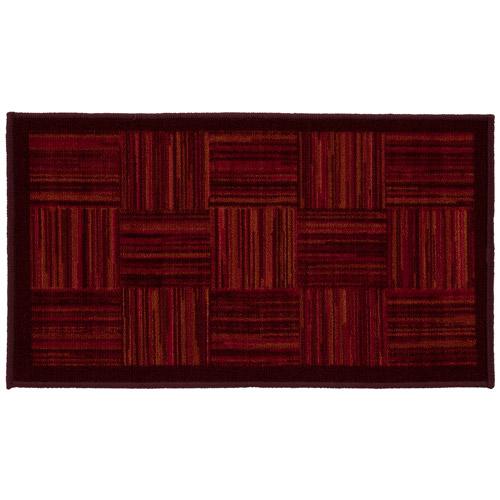 Mainstays Nylon Pile Parquet Rug, Red