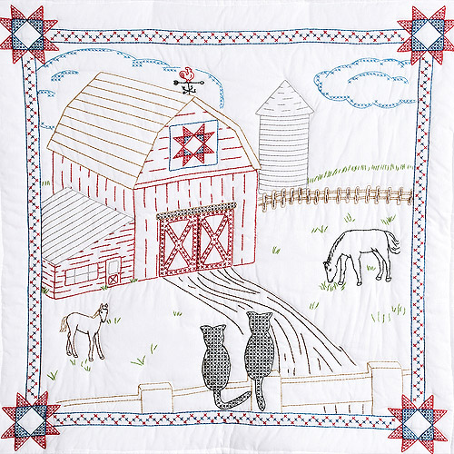 "Stamped White Wall Or Lap Quilt 36"" x 36"", Barn"