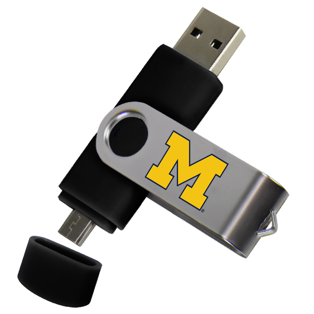 Michigan Wolverines Dual Pro Micro to USB Drive 16GB Black