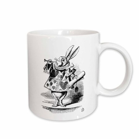 3dRose Alice in Wonderland White Rabbit in costume. John Tenniel illustration - Ceramic Mug, 15-ounce - Rabbit In Alice In Wonderland