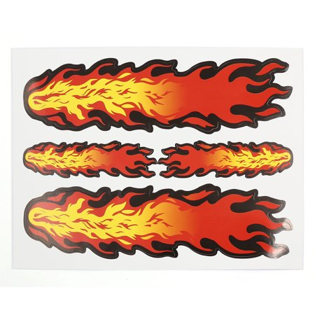 Three Fire Flame Print 2D Style Car Window Door Decal Sticker 20.5cm x 16cm - image 1 de 1