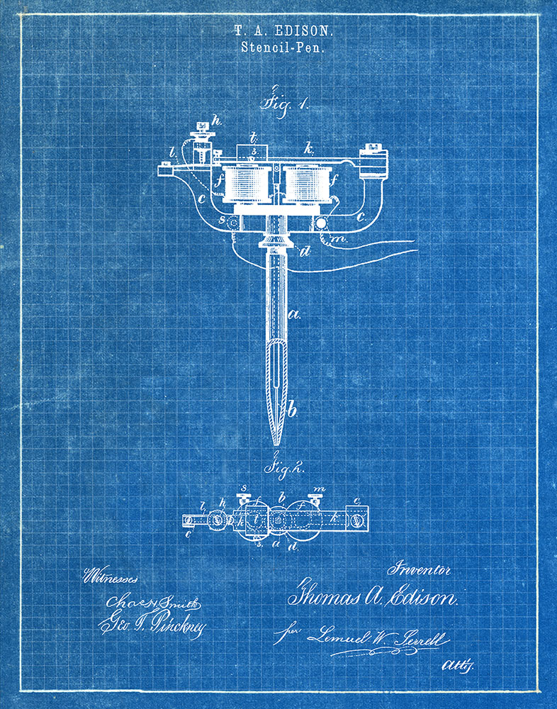 Original Stencil Pen Tattoos Artwork Submitted In 1877 Tattoo Patent Art Print by Fresh Prints of CT