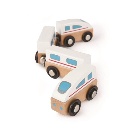 Qubes Wooden Magnetic Bullet Train Set, Toot Toot! These trains are ready for action on or off the tracks By Hape