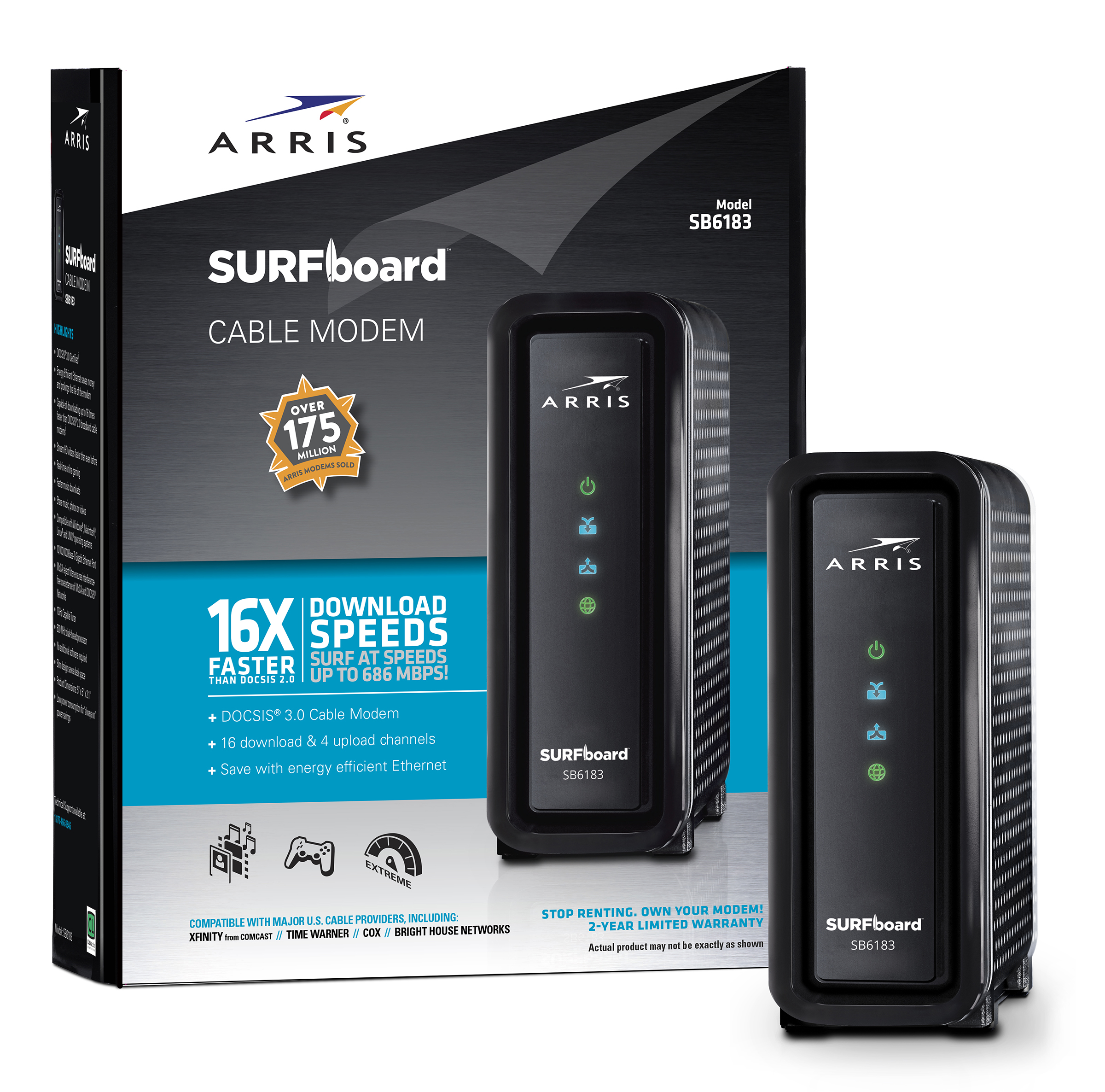 ARRIS SURFboard SB6183 DOCSIS 3.0 Cable Modem - colors may vary