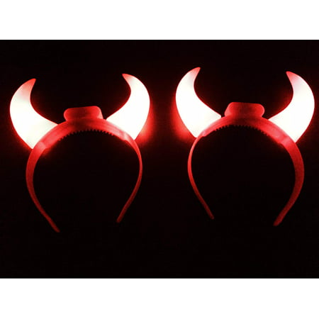GIFTEXPRESS 2 Pack Red Flashing Light Up LED Devil Horns Headband Halloween Costume Head Boppers